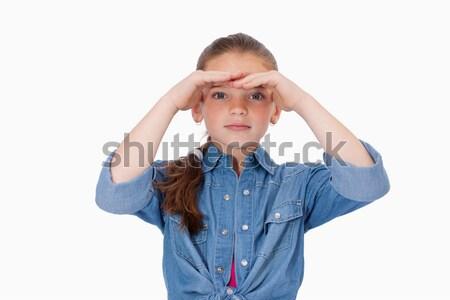 少女 見える 白 手 モデル ストックフォト © wavebreak_media