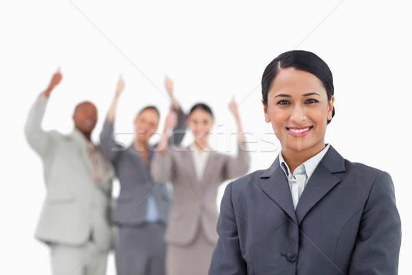 улыбаясь команда за белый счастливым Сток-фото © wavebreak_media