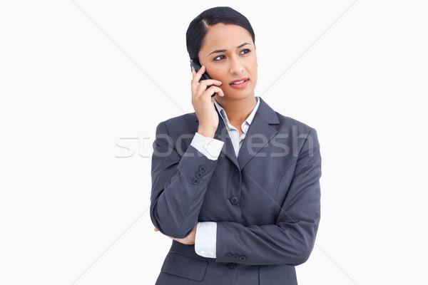 Közelkép elarusítónő telefon fehér üzlet technológia Stock fotó © wavebreak_media