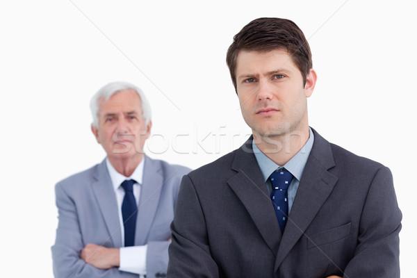 Stok fotoğraf: Işadamı · patron · arkasında · beyaz · adam