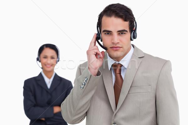 Hotline werknemer collega achter witte man Stockfoto © wavebreak_media