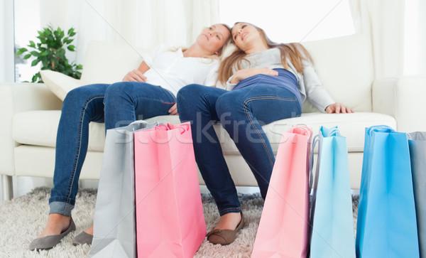 пару сидят вместе исчерпанный торговых Сток-фото © wavebreak_media