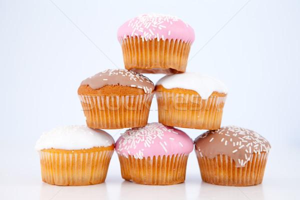 Piramide muffins glazuursuiker Blauw achtergrond eten Stockfoto © wavebreak_media