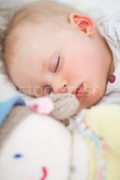Cute baby sleeping next to her stuffed teddy bear in a bedroom Stock photo © wavebreak_media