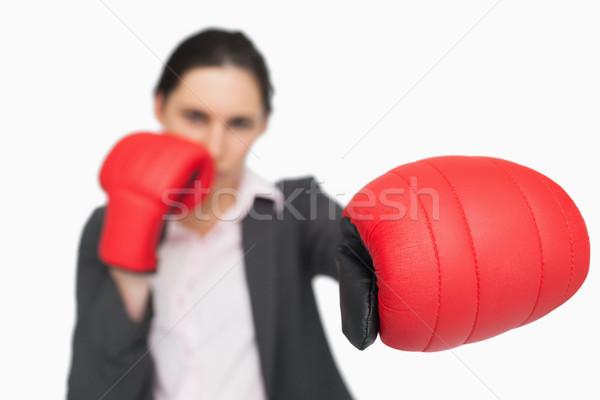 Poważny brunetka czerwony rękawice biały Zdjęcia stock © wavebreak_media