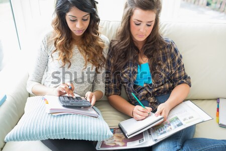Smiling girls checking a calculator while sitting on a couch Stock photo © wavebreak_media