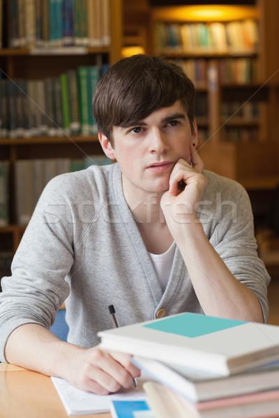 Adam oturma kütüphane büro düşünme kolej Stok fotoğraf © wavebreak_media