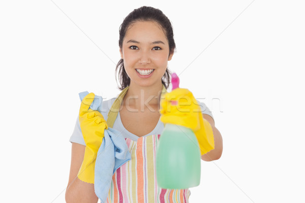 Alegre mulher spray garrafa luvas de borracha Foto stock © wavebreak_media