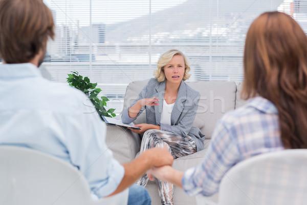 терапевт говорить пару женщину диван женщины Сток-фото © wavebreak_media