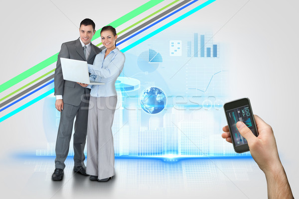 Hand halten Smartphone Schnittstelle digital composite Stock foto © wavebreak_media