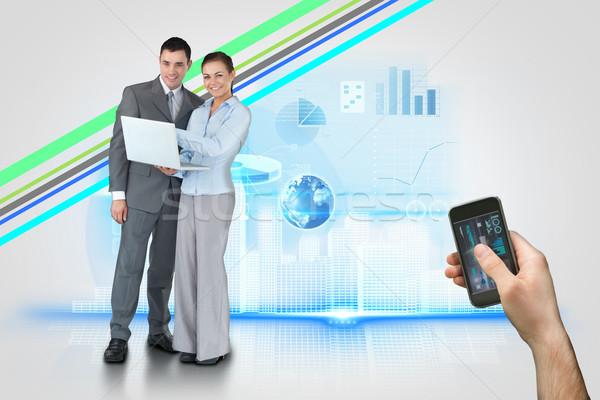 Strony smartphone interfejs digital composite Zdjęcia stock © wavebreak_media