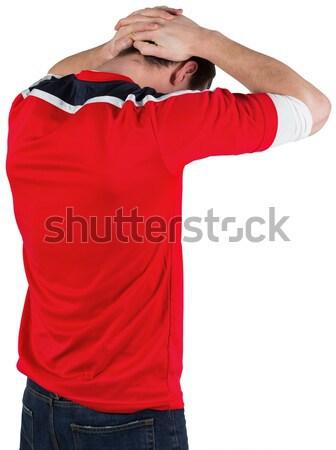 Teleurgesteld voetbal fan Rood witte voetbal Stockfoto © wavebreak_media