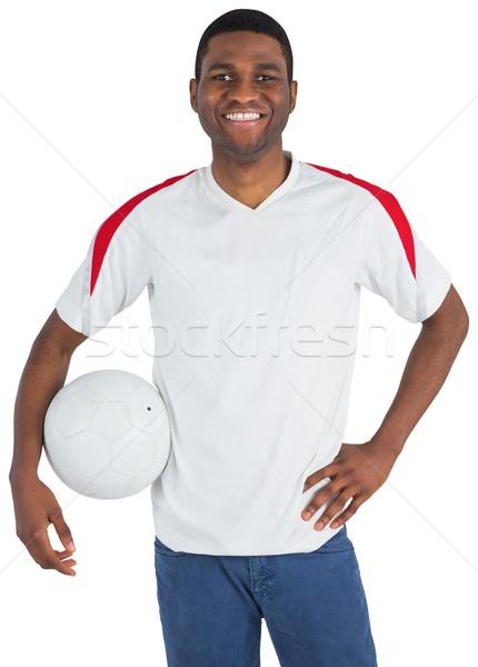 Jóképű futball ventillátor néz kamera fehér Stock fotó © wavebreak_media