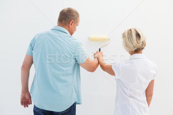 Happy older couple painting white wall Stock photo © wavebreak_media