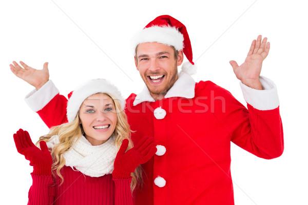 ünnepi pár mosolyog karok a magasban fehér kezek Stock fotó © wavebreak_media