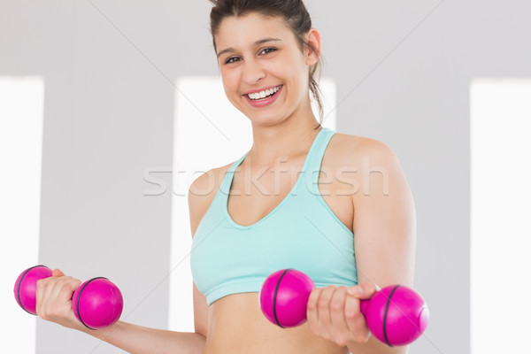 Fit brunette holding pink dumbbells  Stock photo © wavebreak_media