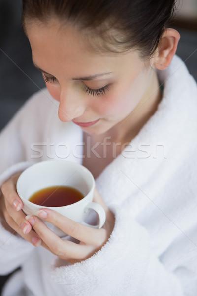 красивая женщина халат чай красивой Сток-фото © wavebreak_media