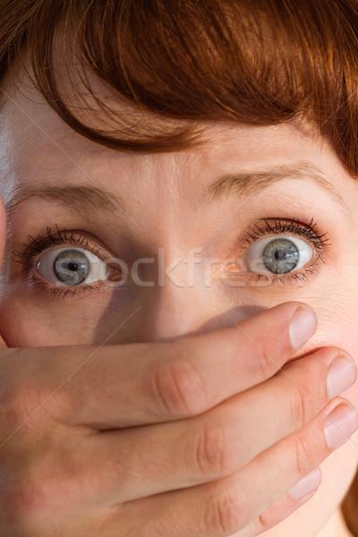 испуганный женщину покрытый рот черный рук Сток-фото © wavebreak_media