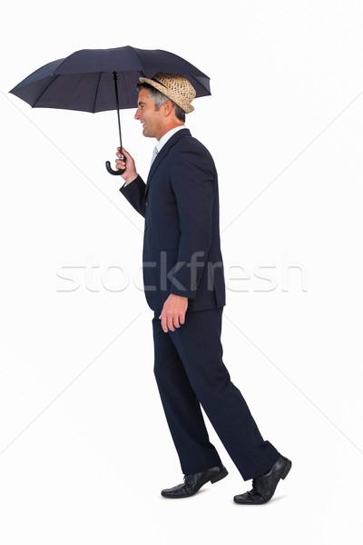 бизнесмен соломенной шляпе зонтик белый бизнеса корпоративного Сток-фото © wavebreak_media