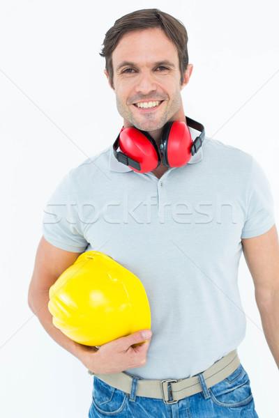 Boldog ács védősisak fül portré férfi Stock fotó © wavebreak_media