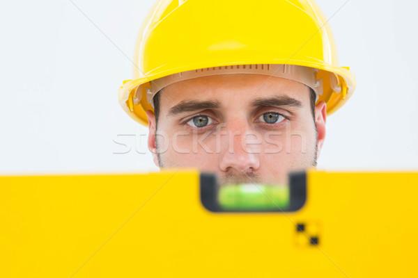 男性 技術者 精神 レベル クローズアップ 白 ストックフォト © wavebreak_media