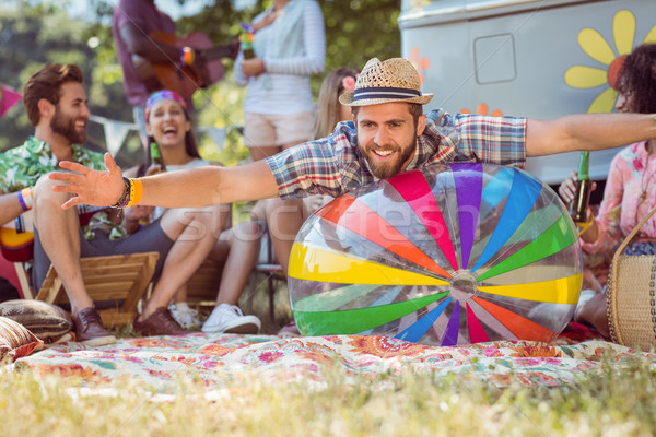 Stock photo: Happy hipsters having fun on campsite