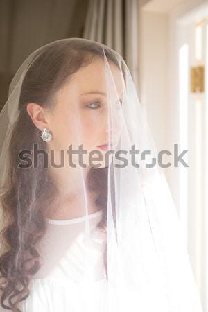 Ideges szőke nő dől fal fehér nő Stock fotó © wavebreak_media
