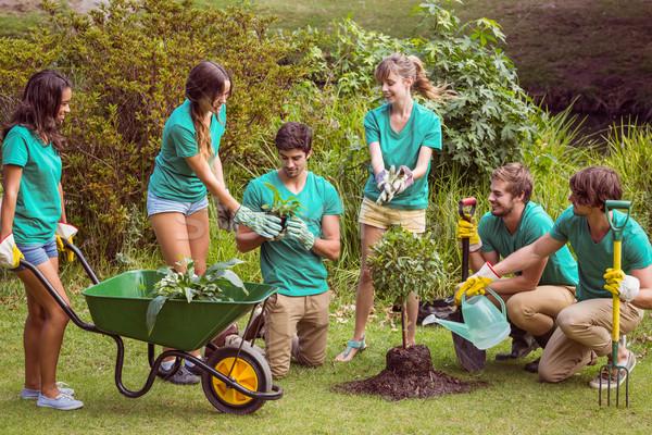 Boldog barátok kertészkedés közösség napos idő férfi Stock fotó © wavebreak_media