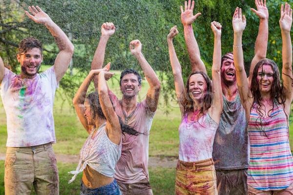 счастливым друзей покрытый краской Сток-фото © wavebreak_media