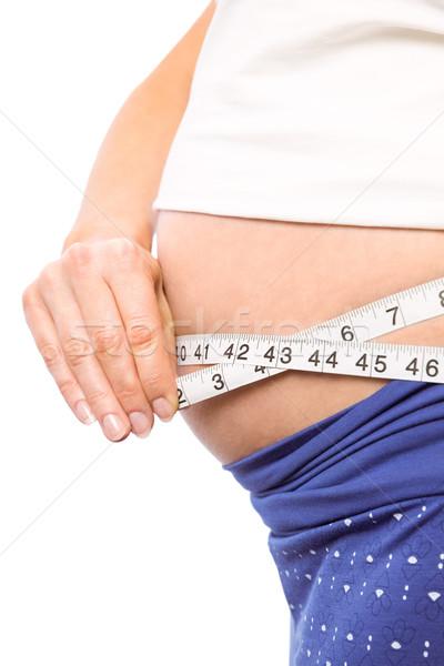 Stock fotó: Terhes · nő · mér · dudorodás · fehér · egészség · női