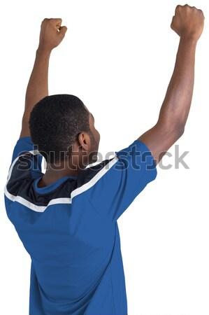 Rögbi játékos rögbilabda hátulnézet sport kék Stock fotó © wavebreak_media