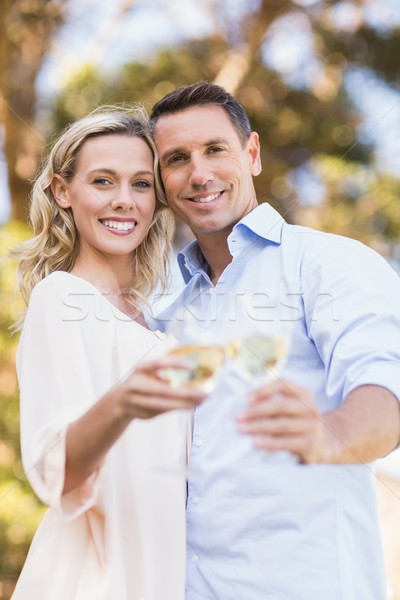 Portrait of smiling couple embracing and toasting with wineglass Stock photo © wavebreak_media