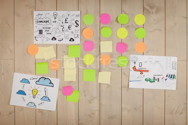 Brainstorming muro creativo ufficio legno società Foto d'archivio © wavebreak_media