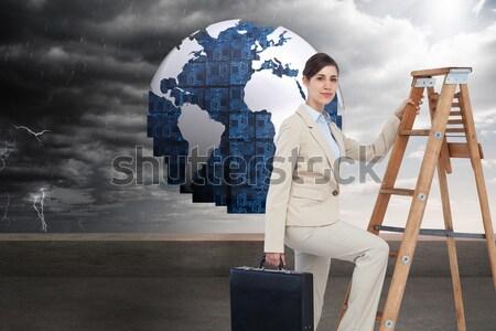 ビジネスマン はしご 見える 将来 市 デジタル複合 ストックフォト © wavebreak_media