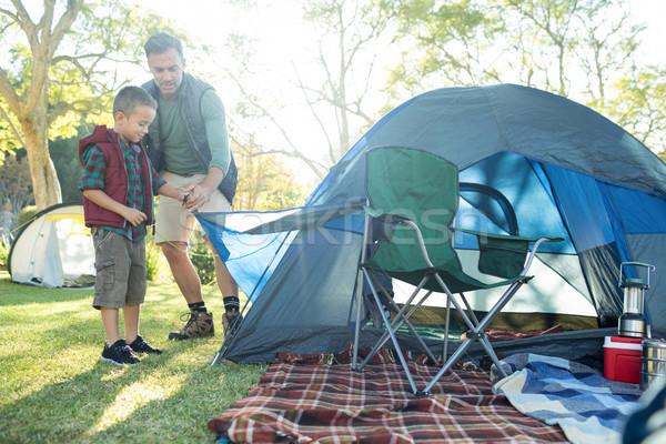 Apa fia felfelé sátor táborhely napos idő papír Stock fotó © wavebreak_media