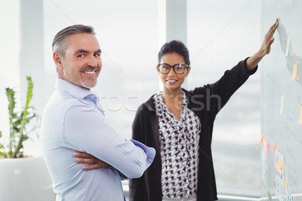 Portrait of smiling colleagues discussing over sticky note Stock photo © wavebreak_media