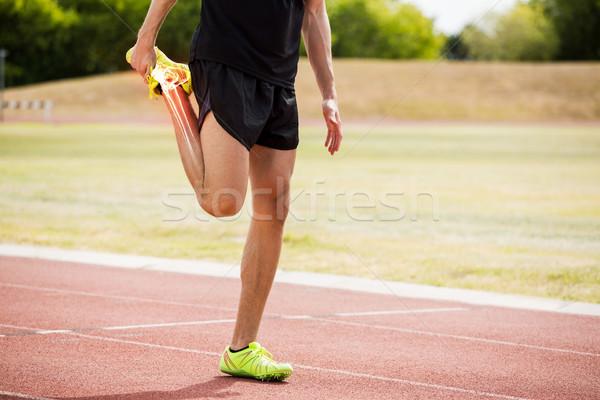 Csontok atléta férfi nyújtás versenypálya digitális kompozit Stock fotó © wavebreak_media