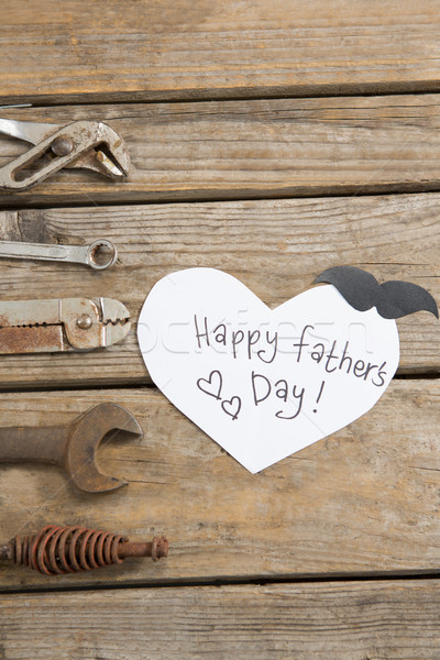 Vista día de padres feliz texto mano herramientas mesa Foto stock © wavebreak_media
