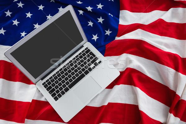 ノートパソコン アメリカンフラグ クローズアップ コンピュータ 背景 ストックフォト © wavebreak_media