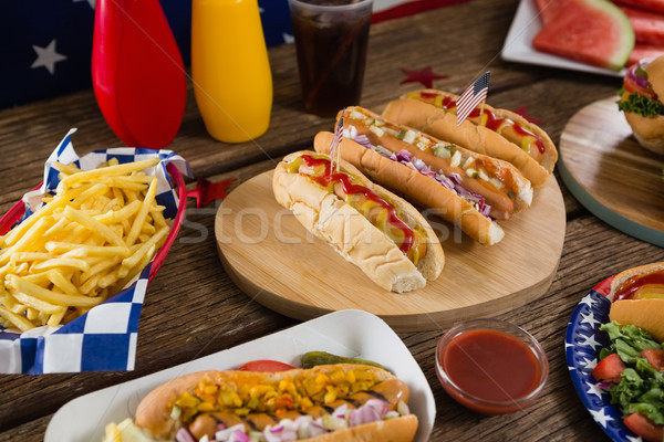 Hot dogs on wooden table with 4th july theme Stock photo © wavebreak_media