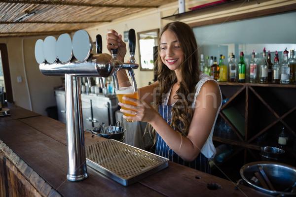 Zdjęcia stock: Piwa · dotknij · szkła · stałego · bar