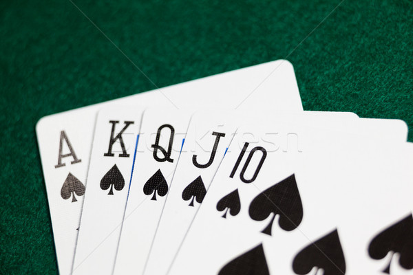 Playing cards arranged on poker table Stock photo © wavebreak_media