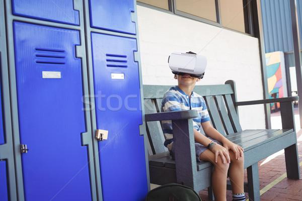 мальчика виртуальный реальность очки сидят скамейке Сток-фото © wavebreak_media
