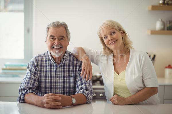 Zdjęcia stock: Starszy · para · posiedzenia · kuchnia · portret · kobieta · kawy