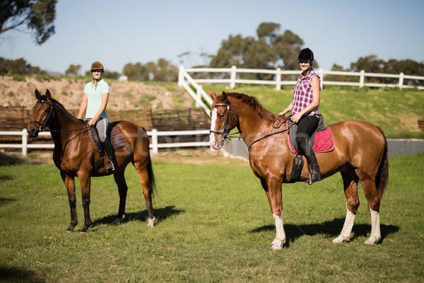 женщины друзей верховая езда женщину лошади Сток-фото © wavebreak_media