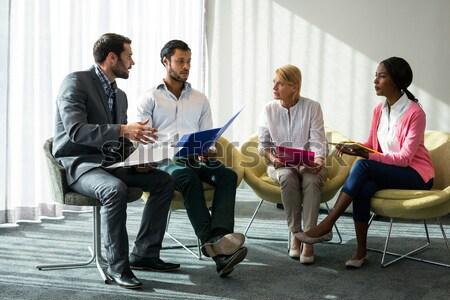 Idős férfi néz barátok beszél ül Stock fotó © wavebreak_media