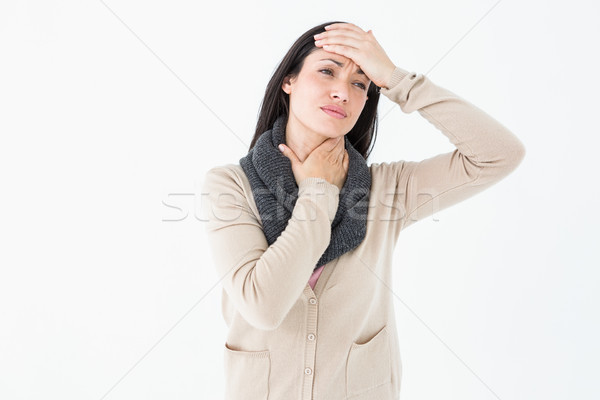 Ziek brunette aanraken keel hoofd witte Stockfoto © wavebreak_media
