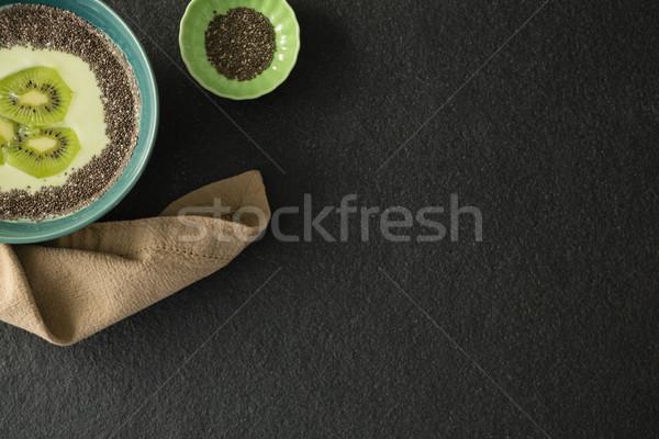 Szeletel tej tál beton fitnessz gyümölcs Stock fotó © wavebreak_media