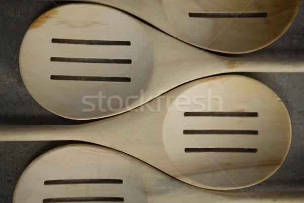 Tavola lato legno cucina blu Foto d'archivio © wavebreak_media