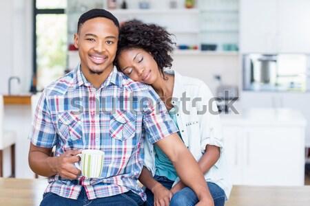 Gülen baba dizüstü bilgisayar kullanıyorsanız oğul mutfak mutlu Stok fotoğraf © wavebreak_media